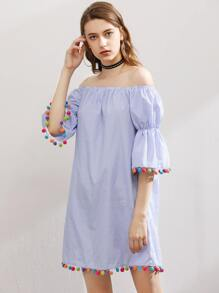 Elasticized Bell Sleeve Pom Pom Trim Striped Dress