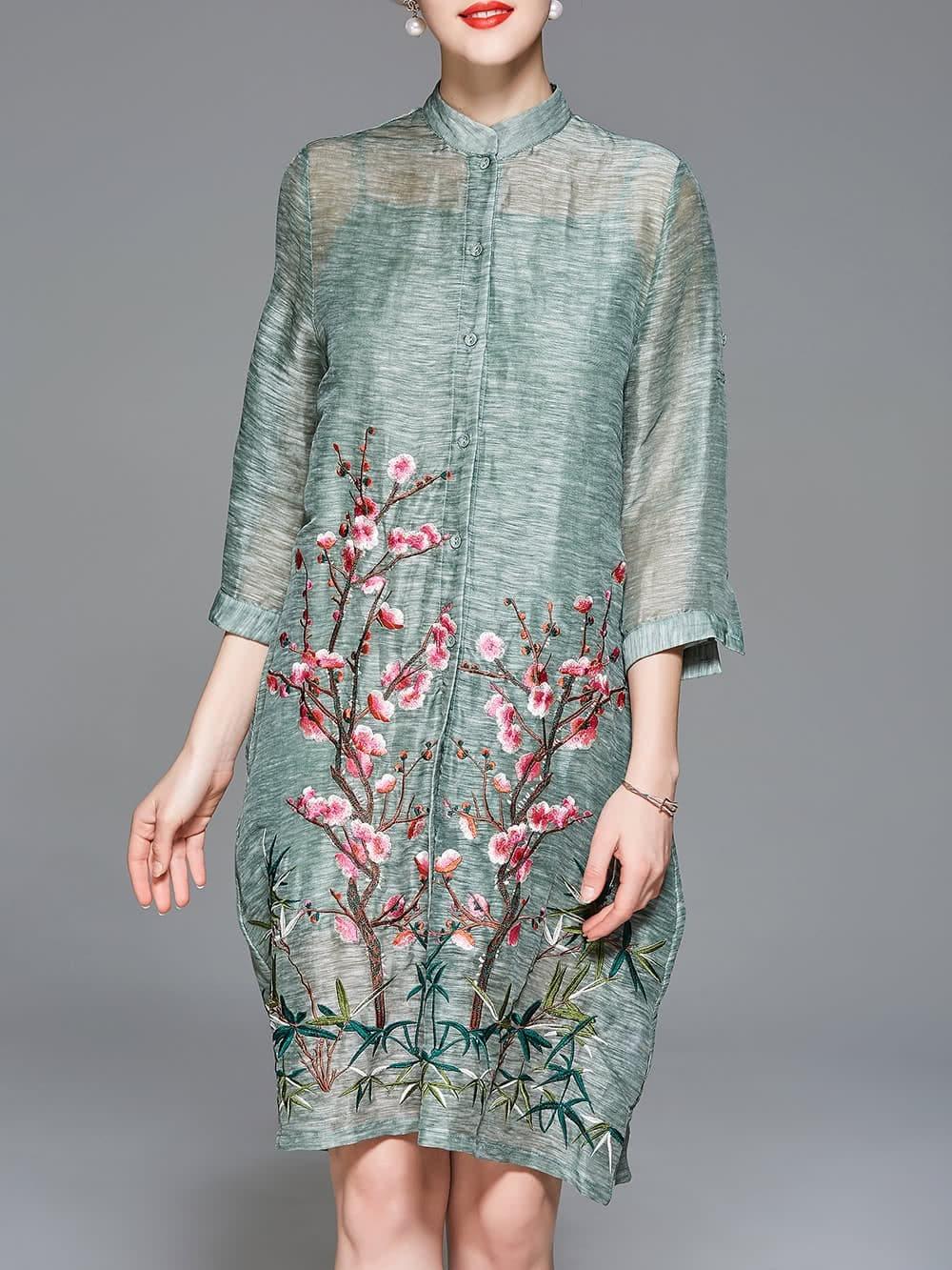 Flowers embroidered pockets vintage dress shein sheinside