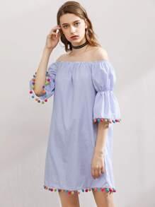 Elasticized Bell Sleeve Pom Pom Trim Striped Dress