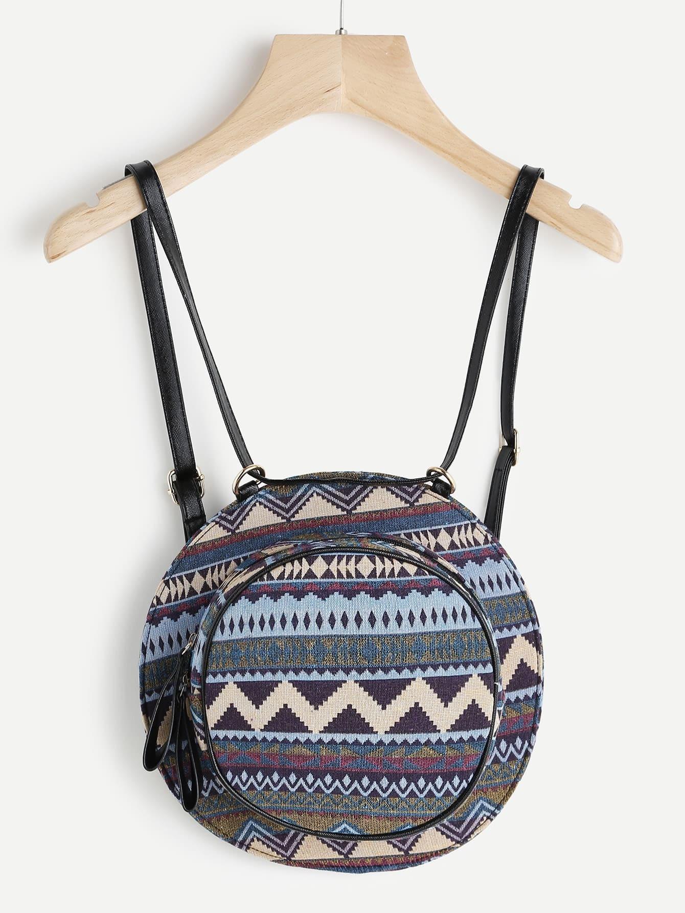 Фото Geometric Pattern Round Backpack With Convertible Strap. Купить с доставкой