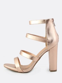 Four Band Zip Up Heel ROSE GOLD