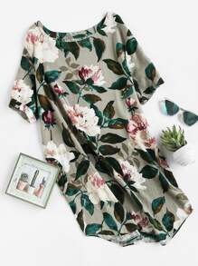 Florals Curved Hem Dress With Pockets