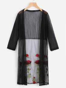 Kimono lungo a rete con ricamo di rosa