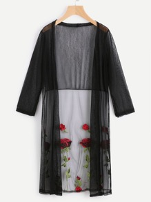 See-Through Flower Embroidered Mesh Longline Kimono