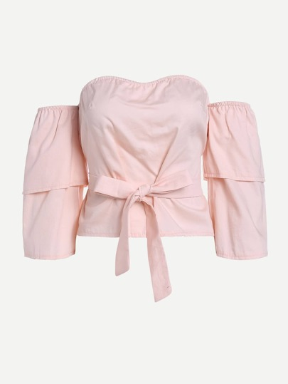 Layered Sleeve Tie Waist Bardot Top