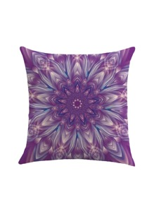 Lotus Flower Print Cushion Cover