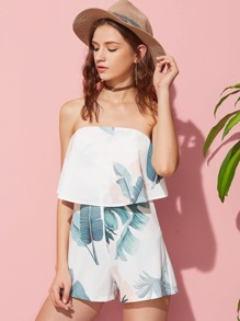 Tropical Print Two Layer Bandeau Playsuit
