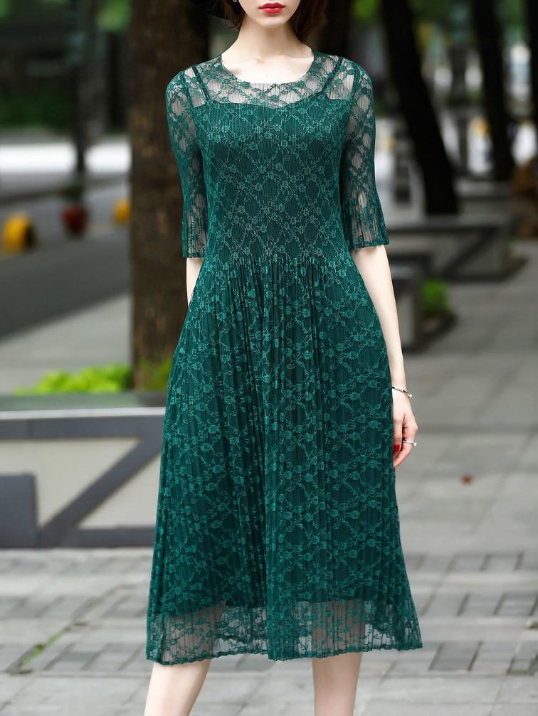 Фото Pleated Elastic Lace A-Line Dress. Купить с доставкой