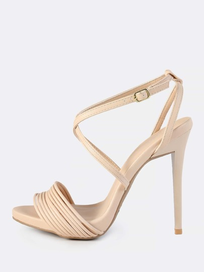 Muti Strap Band Leather Heels NUDE
