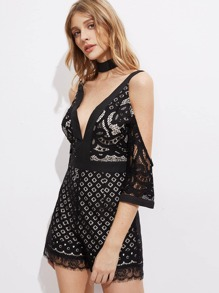 Double Plunge Lace Playsuit With Choker pictures