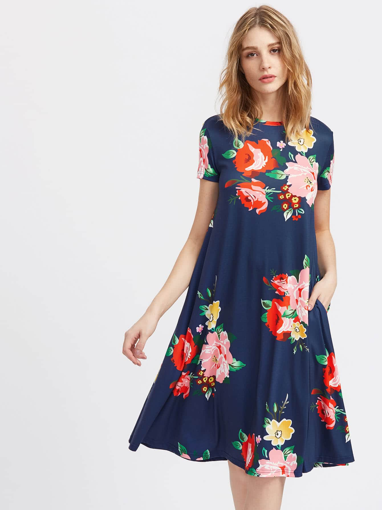 Flower Print Side Pocket Detail Swing Tee Dress pocket full length tee dress page 8
