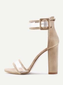 Sandales à talons avec lacets clair