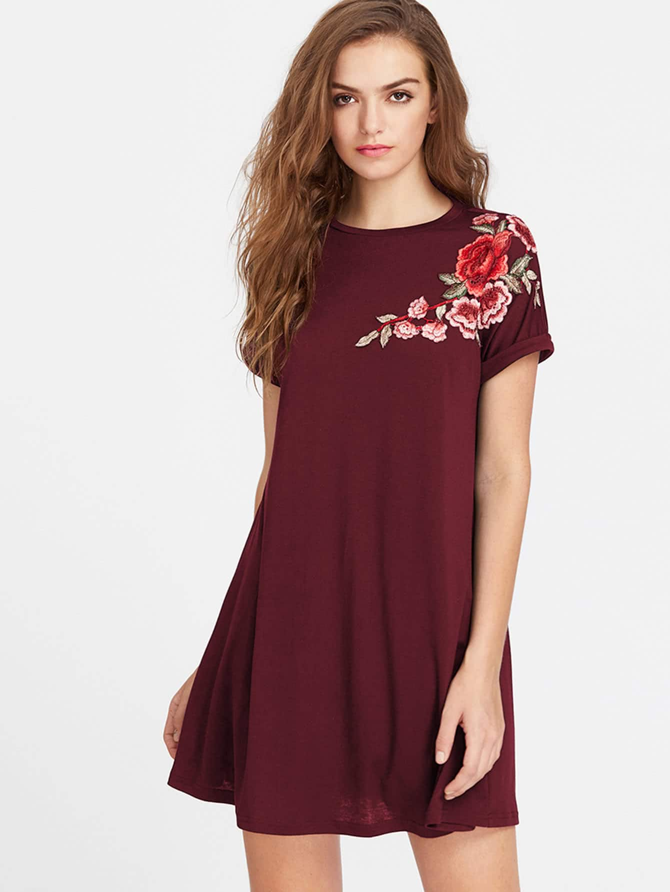 Embroidered Flower Applique Swing Tee Dress embroidered flower applique mesh sweetheart tee