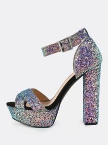 Iridescent Glitter Platform Heels BLUE