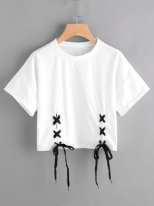 Double Grommet Lace Up Hem Tee