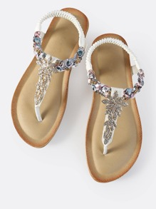 Crysal Braid Thong Sandals WHITE