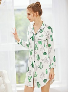 Cactaceae Print Curved Hem Nightdress