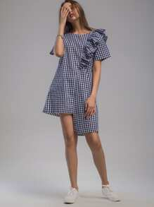 Gingham Frill Trim Tie Back Asymmetrical Hem Dress