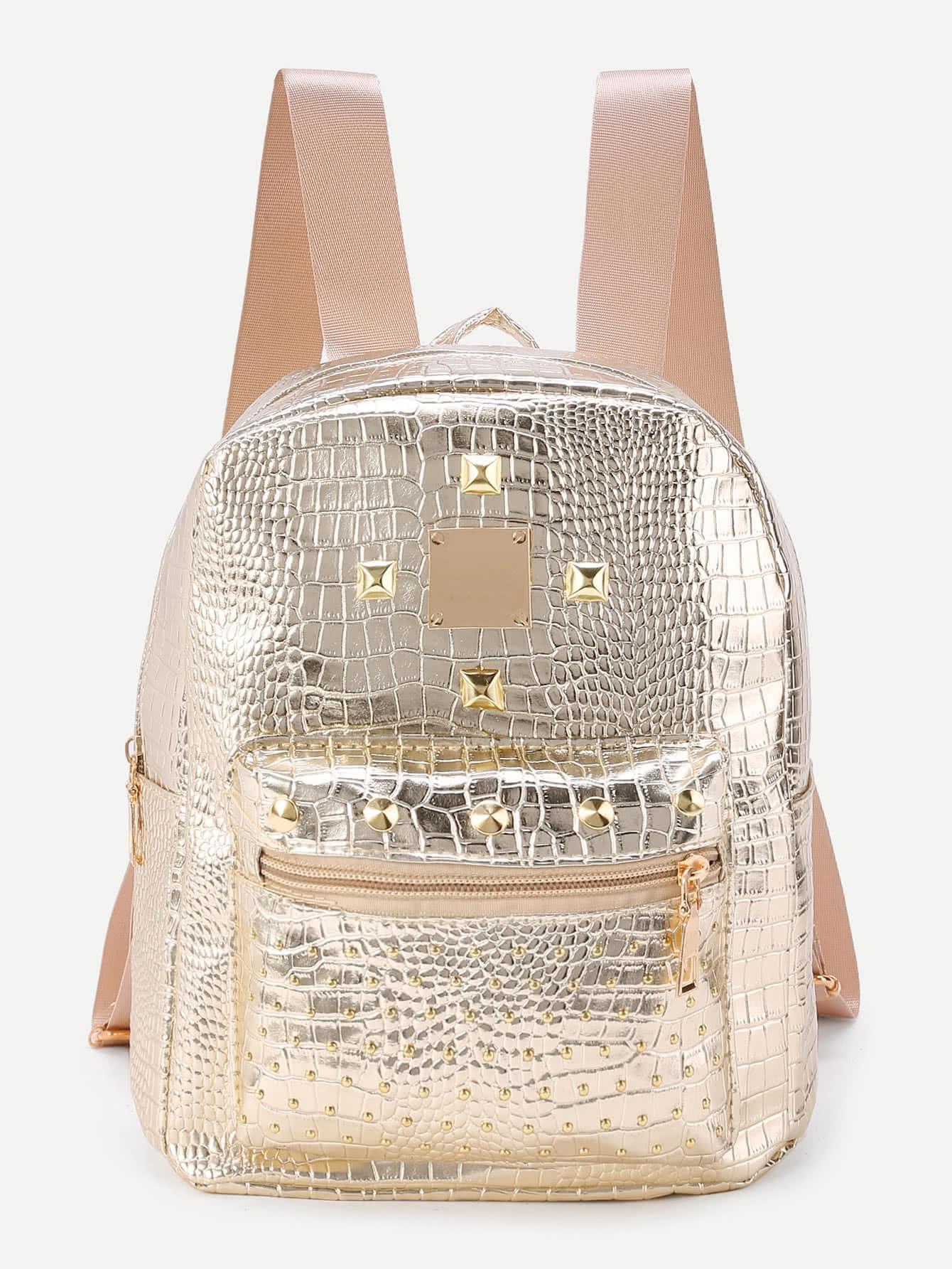 Studded Detail Crocodile Backpack metallic crocodile textured backpack
