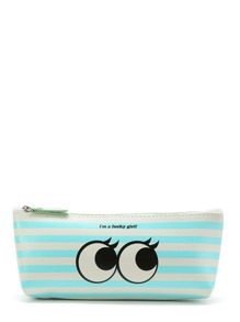 Striped & Eye Print PU Bag