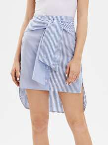 Vertical Striped Knot Front Multiway Skirt