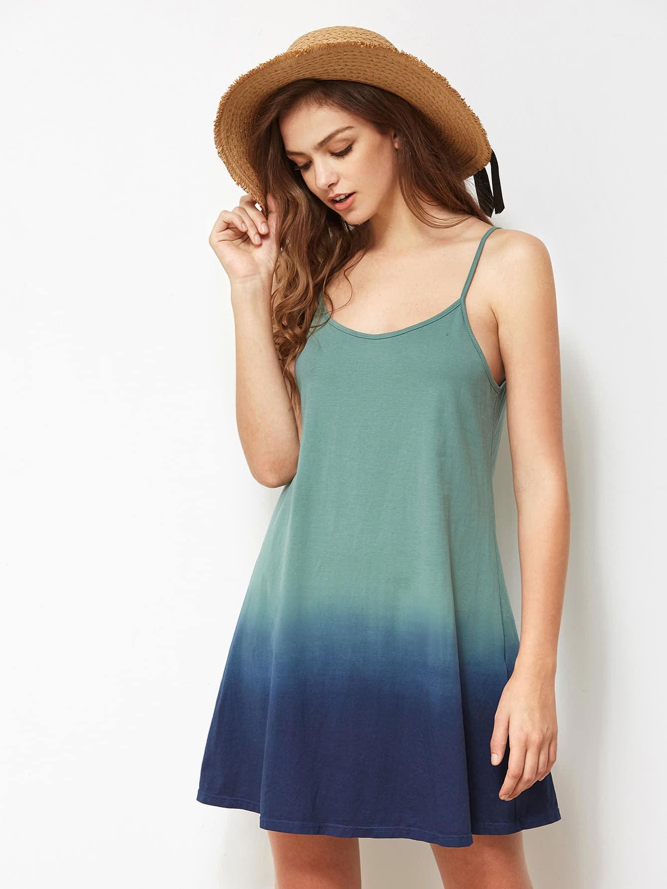 Фото Adjustable Strap Detail Ombre Cami Dress. Купить с доставкой