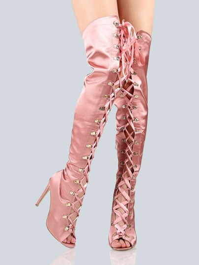 Satin Lace Up Thigh High Boots PINK