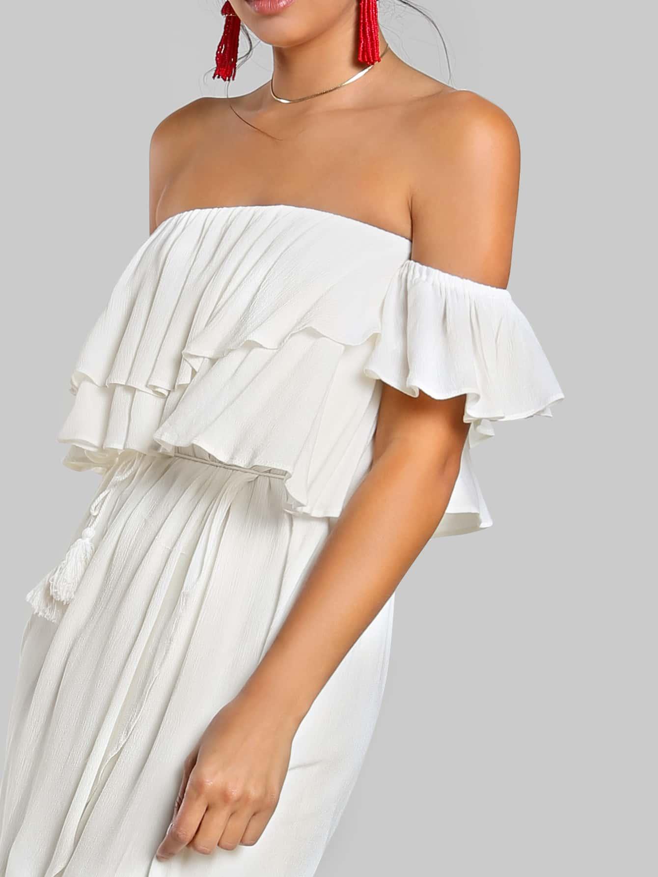 Flounce Bardot Sleeve High Low Maxi Dress Ivory Shein