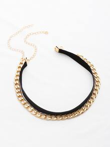 Chain And Velvet Necklace Set