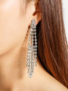 Rhinestone Decorated Tassel Shaped Earrings