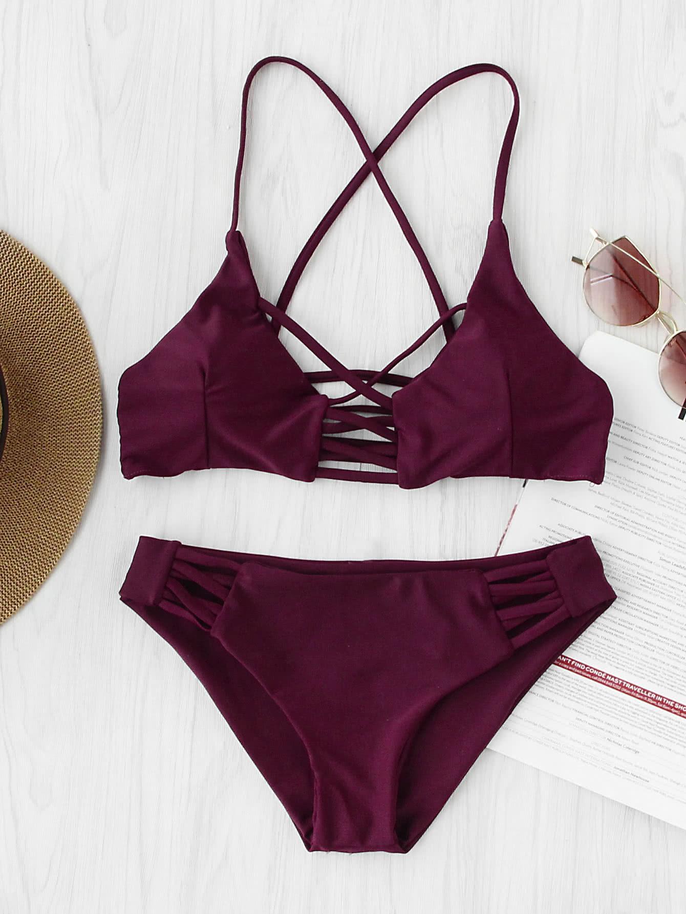 Criss Cross Cutout Beach Bikini Set criss cross ruffle bikini set
