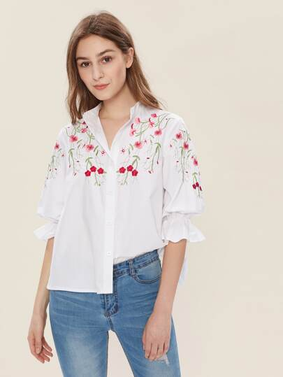 Blossom Embroidered Yoke Fluted Sleeve Blouse