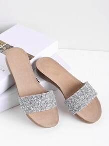 Sandales plat pailleté