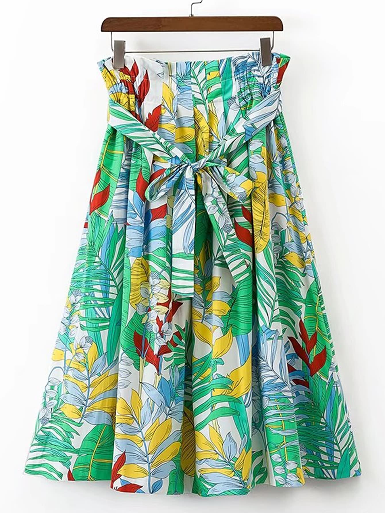 Фото Tie Waist Tropical Print A Line Skirt. Купить с доставкой
