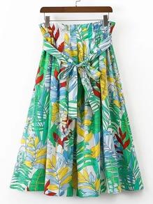 Falda con estampado tropical con cordón