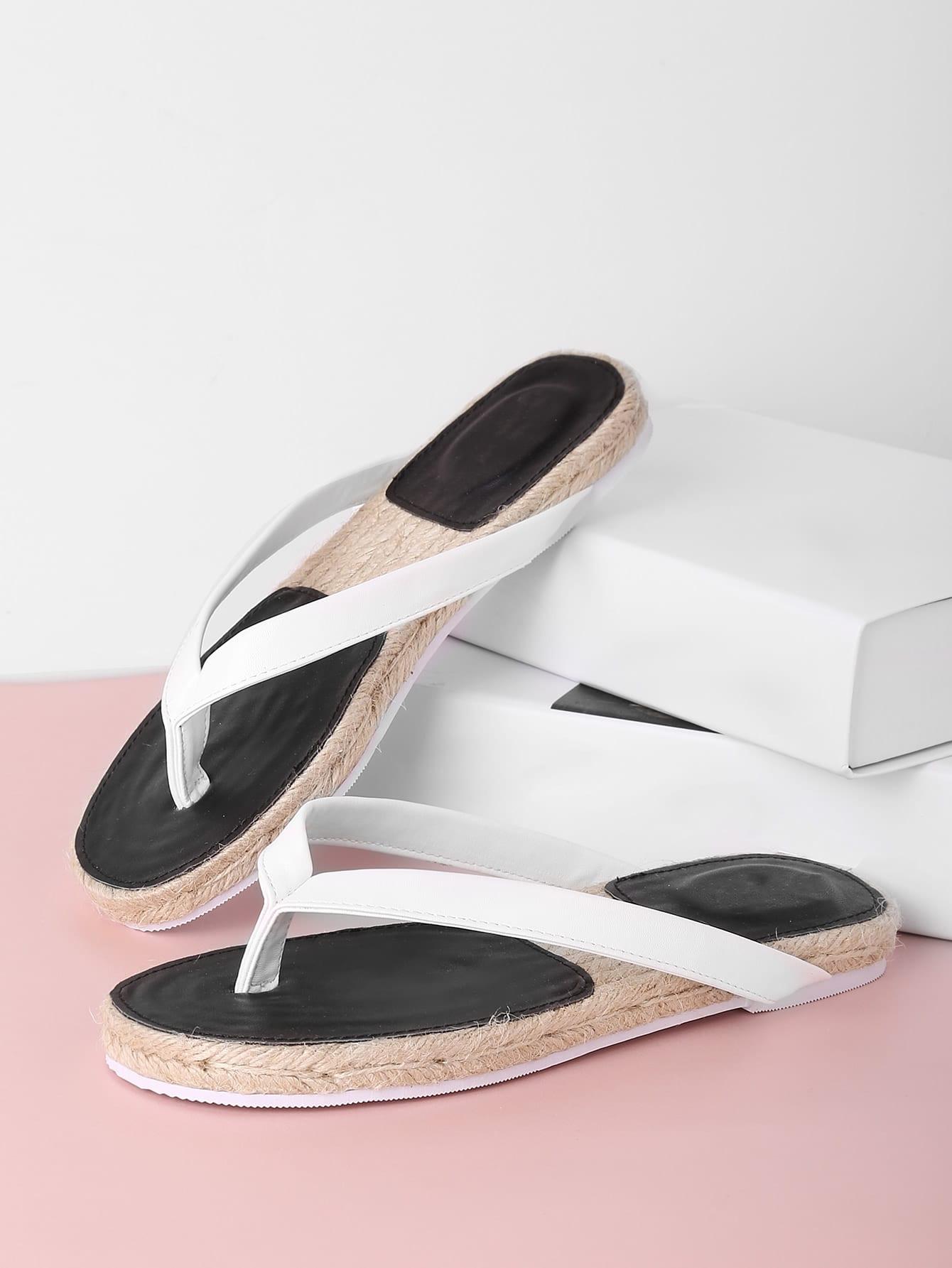 Фото Toe Post PU Woven Flat Sliders. Купить с доставкой
