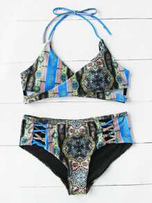 Tribal Print Criss Cross Surplice Bikini Set