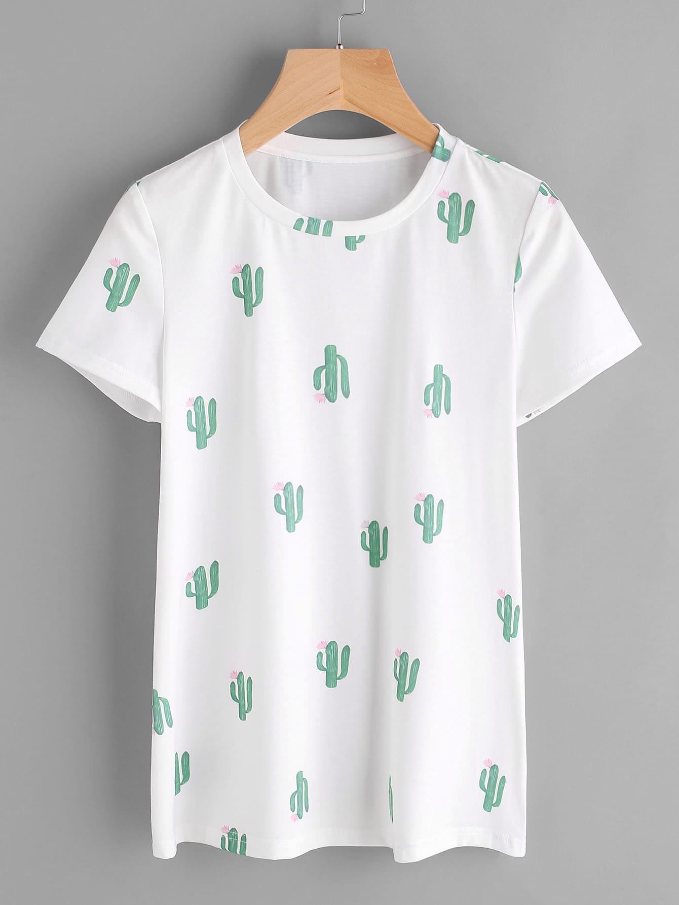 Фото Allover Cactus Print Tee. Купить с доставкой