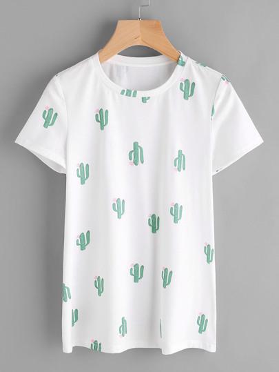 Camiseta estampada de cactus