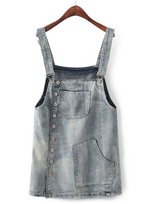Bleach Wash Denim Overall Dress