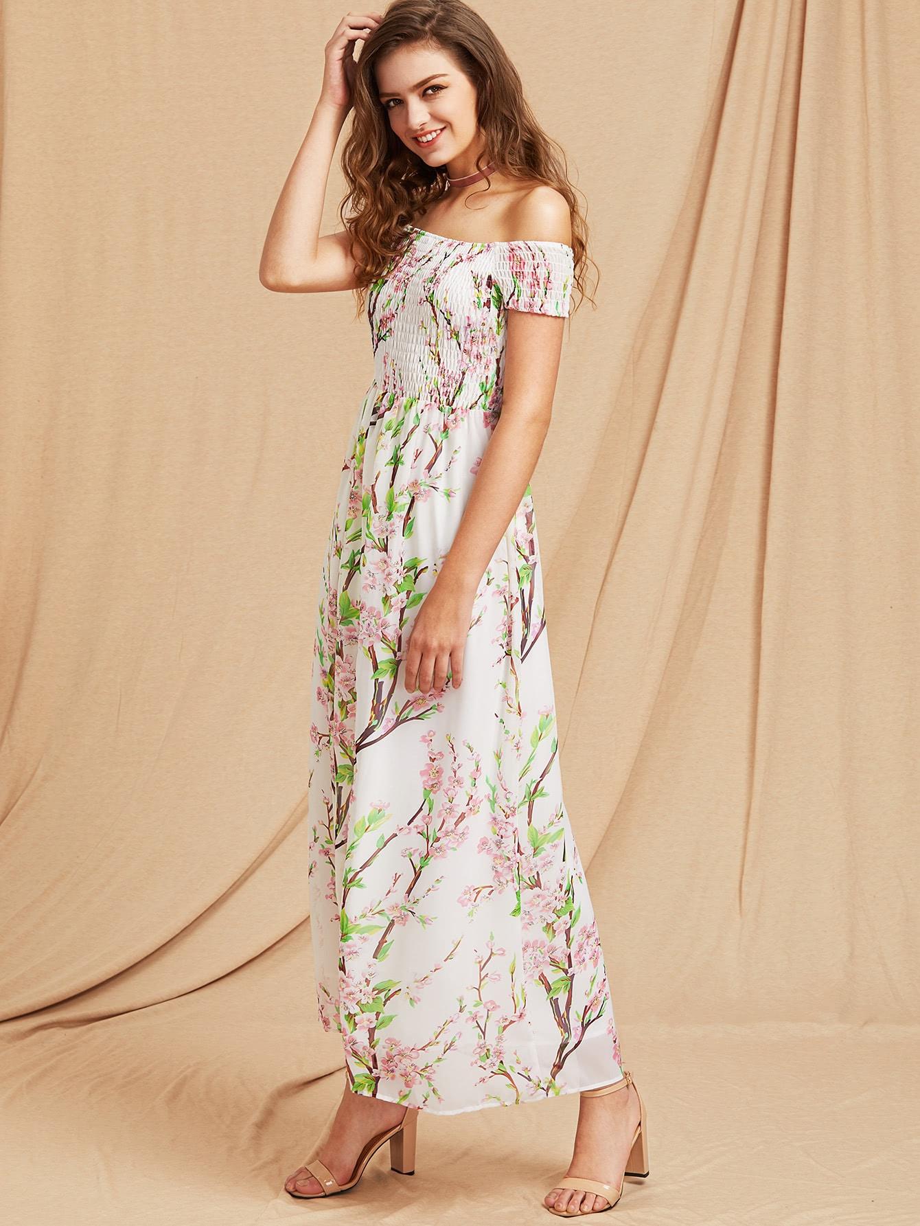 Фото Blossom Print Off Shoulder Smocked Dress. Купить с доставкой