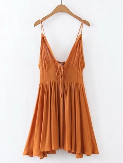 Cami Straps Contrast Lace Pleated Dress