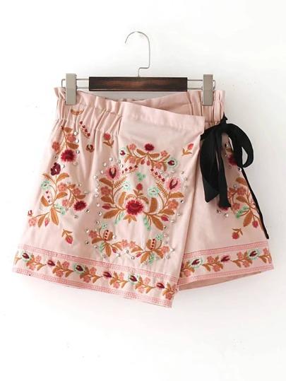 Tie Waist Rivet Detail Embroidery Skirt Shorts