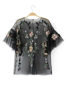 Bluse mit Blumen Stickereien und Netzstoff