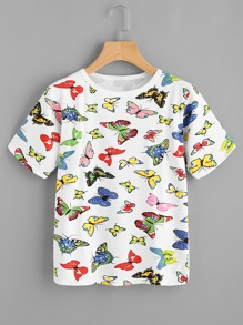 Allover Butterfly Print T-shirt