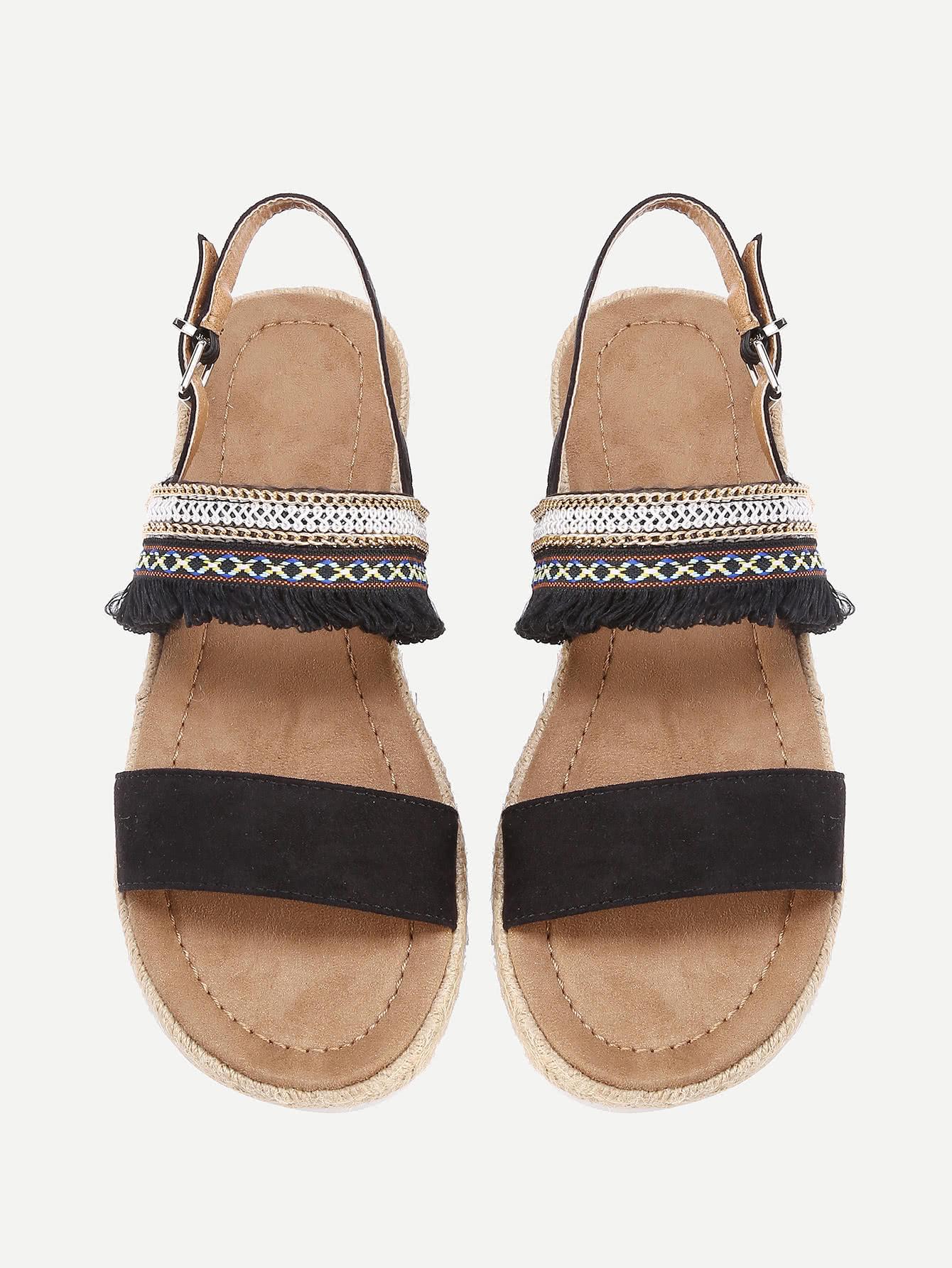 Fringe Detail Flat Sandals fringe detail beach sandals