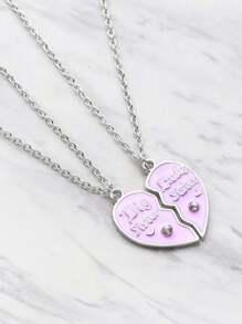 Rhinestone Embellished Heart Shaped Friendship Necklace 2pcs