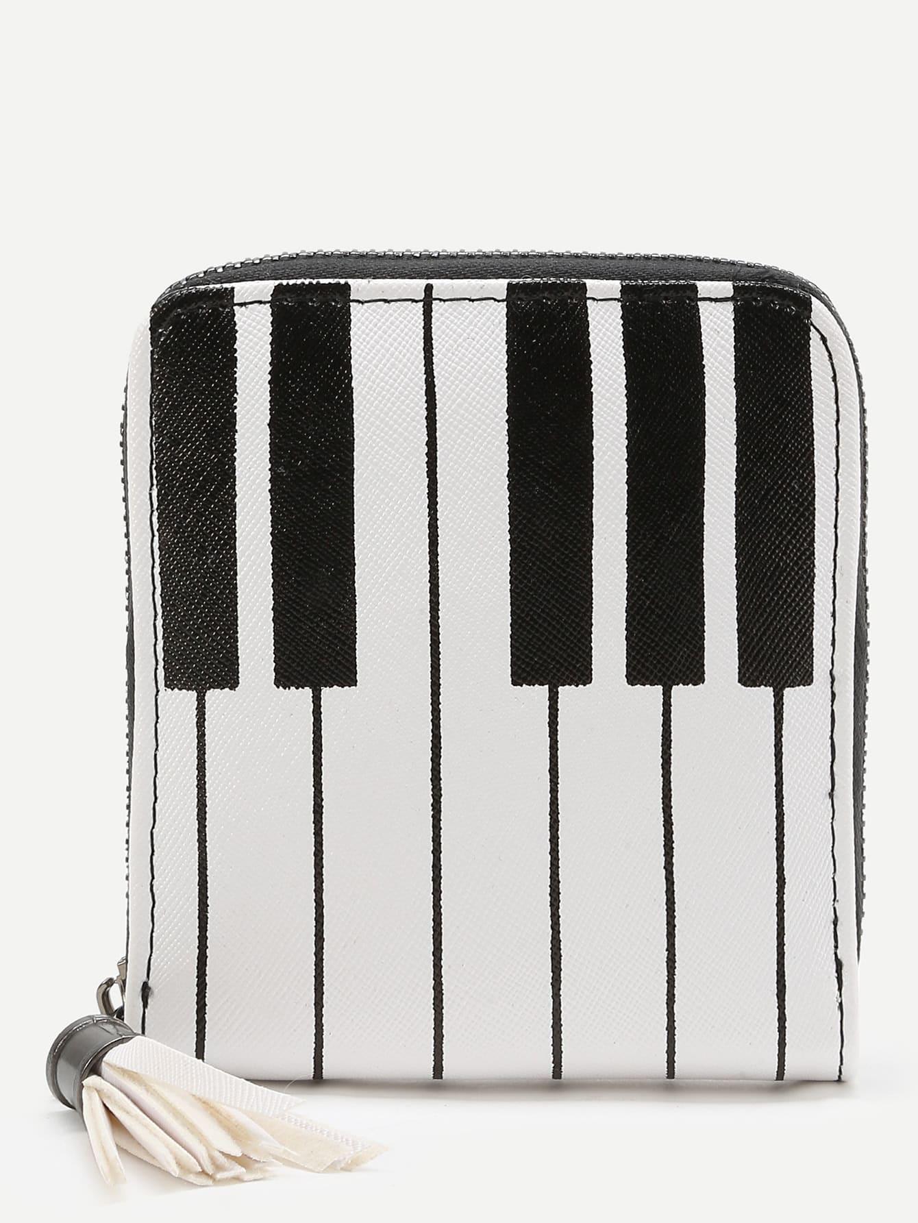 Фото Piano Key Print Purse With Tassel. Купить с доставкой