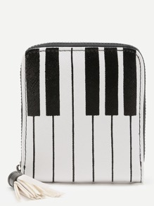 Piano Key Print Purse With Tassel