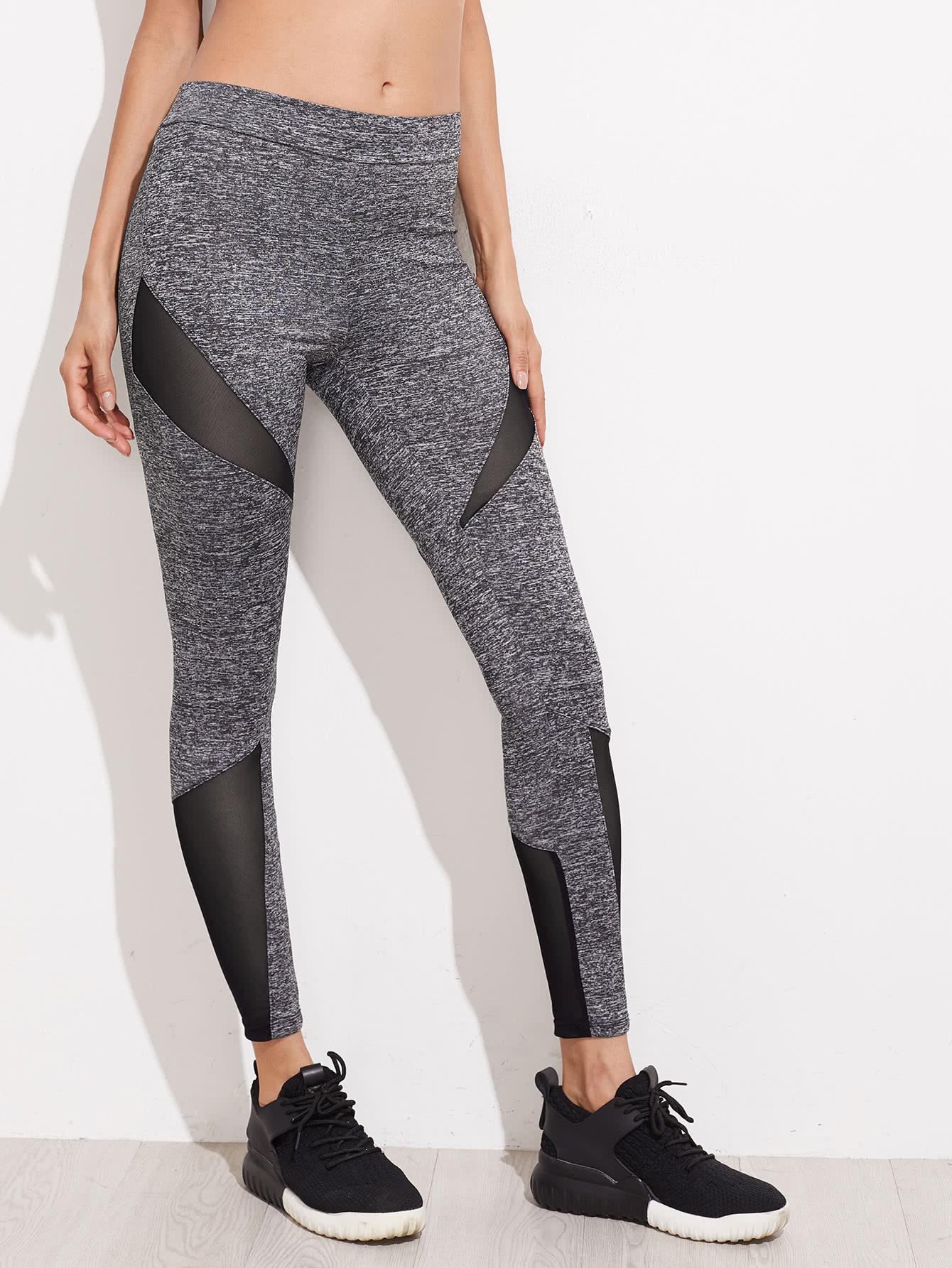 Mesh Insert Marled Knit Leggings marled knit topstitch stirrup leggings